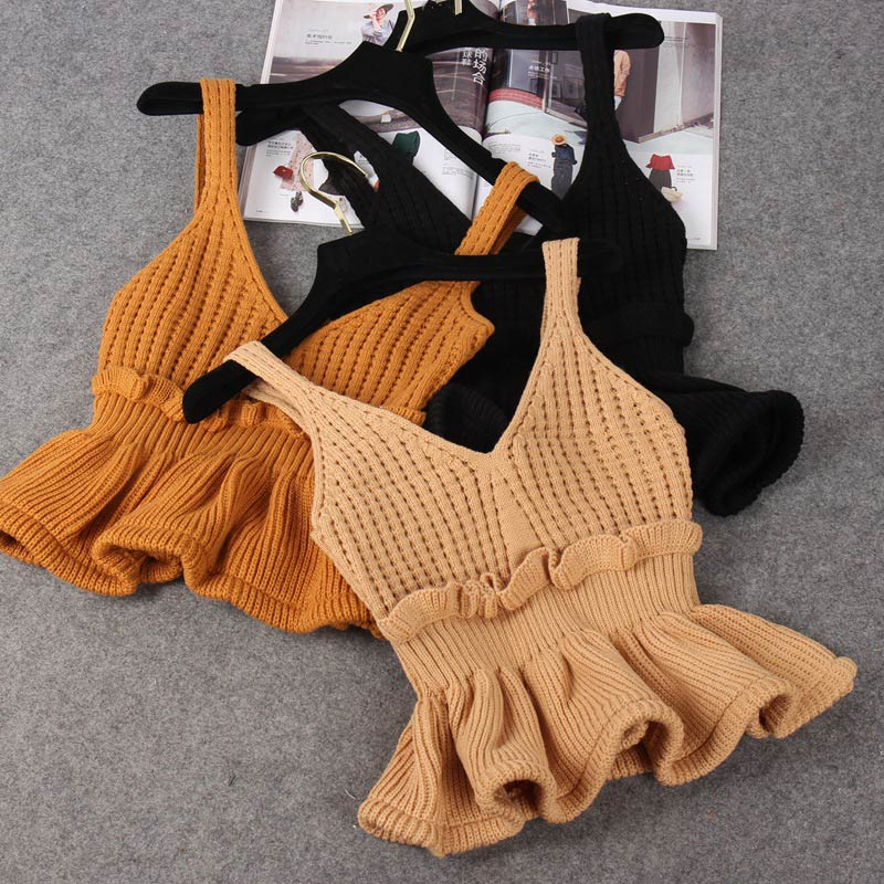 Women's Knitted Ribbed Ruffled Crop Tops V neck Camis Sleeveless Backless Tunic Female Tank Top 2020 Autumn Sexy Camisole Women Camis  - AliExpress