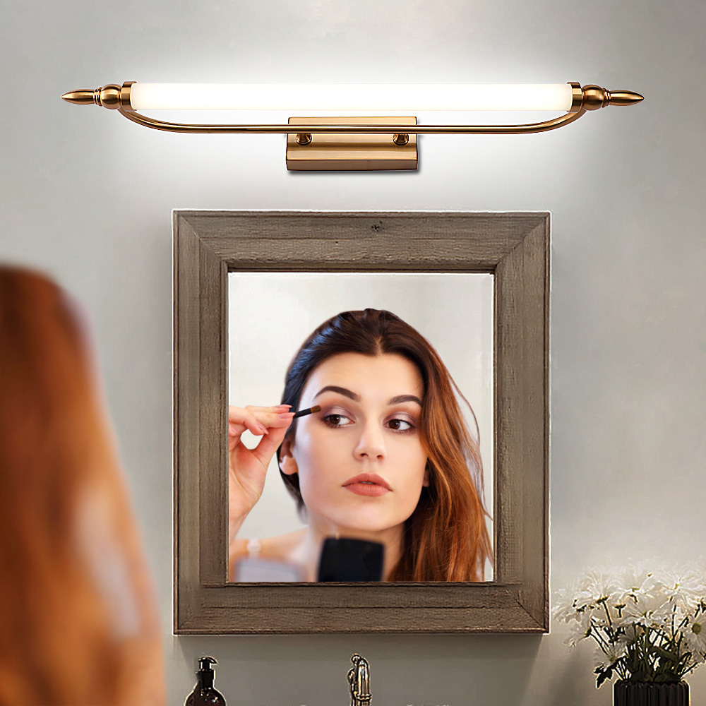 Zerouno Led Wall Light Waterproof Bathroom Mirror Lamp 55cm 65cm 75cm Metal Arcrylic Bedroom Makeup Mirror Light Fixtures