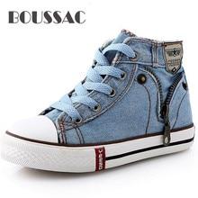 BOUSSAC Fashion High Help Canvas Shoes Children Flats Breathable Casual Kids Denim Side Zipper Boys Girls Sneakers 04