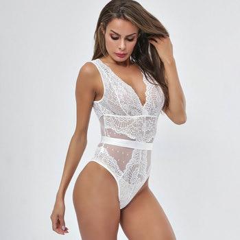 2020 Summer Sexy Lace Bodysuit Women Embroidery Deep V Neck Sexy Bodysuit Dot Patchwork Mesh Jumpsuit Overalls Femlae Bodysuit 1
