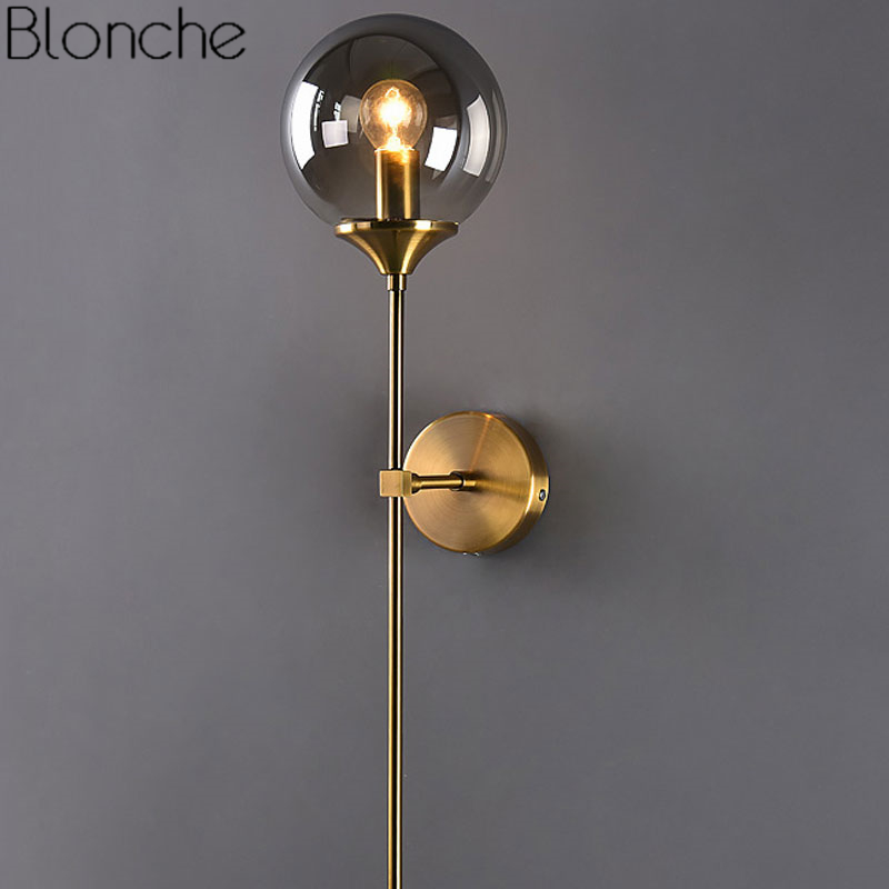 Modern Glass Wall Lamp Gold Led Wall Light Fixtures For Home Decor Bedroom Bathroom Mirror Lights Nordic Indoor Luminaire E14