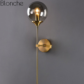 Modern Glass Wall Lamp Gold Led Wall Light Fixtures for Home Decor Bedroom Bathroom Mirror Lights Nordic Indoor Luminaire E14 цена 2017