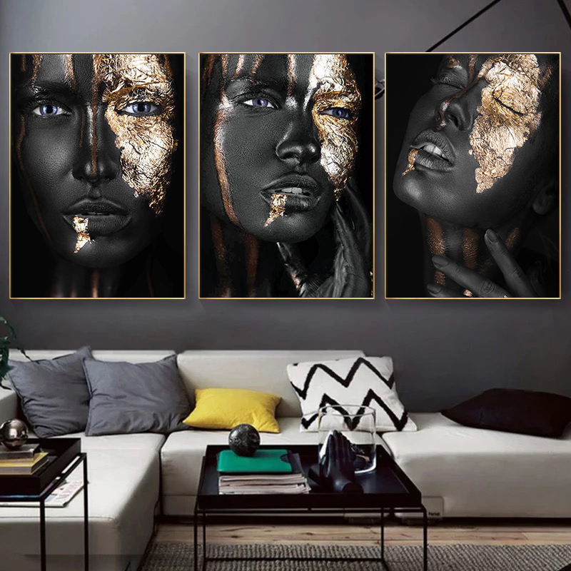 Black Gold Woman Canvas Poster Painting Wall Art Picture Prints Decor Unframed