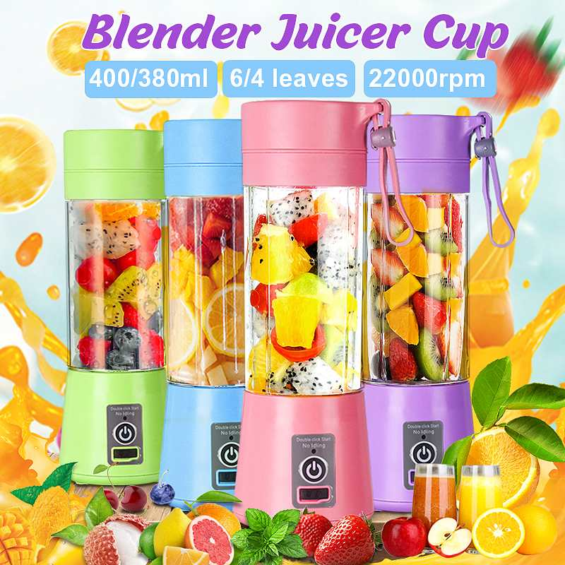 480ml 4 Blades Portable Electric Fruit Juicer Home USB Rechargeable Smoothie Maker Blenders Machine Sports Bottle Juicing Cup