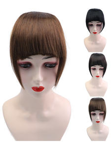 Isheeny Bangs Fringe-Hair Front-Extensions Brown In-Pieces Black Natural Remy 20g 3-Clips