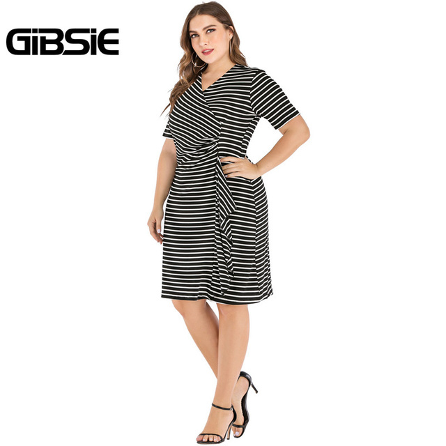 GIBSIE Plus Size V-Neck Short Sleeve Striped Ruffles Midi Dress Women Summer Casual OL High Waist Female Slim Bodycon Dresses 5