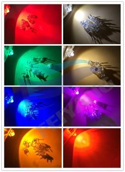 100 Uds F5 5mm piraña LED blanco rojo naranja RGB rosa azul verde amarillo ámbar claro diodo de luz LED diodos emisores de 4 pines
