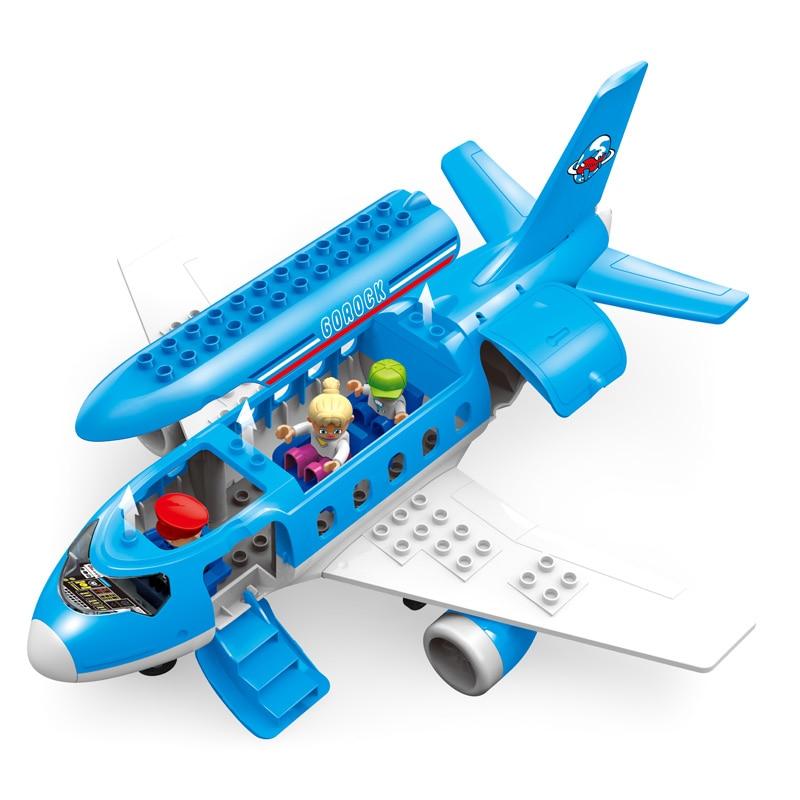 Grande aeroporto airbus avião figuras blocos de construção da cidade conjunto compatível com duplie iluminar diy tijolos brinquedos para crianças meninas meninos