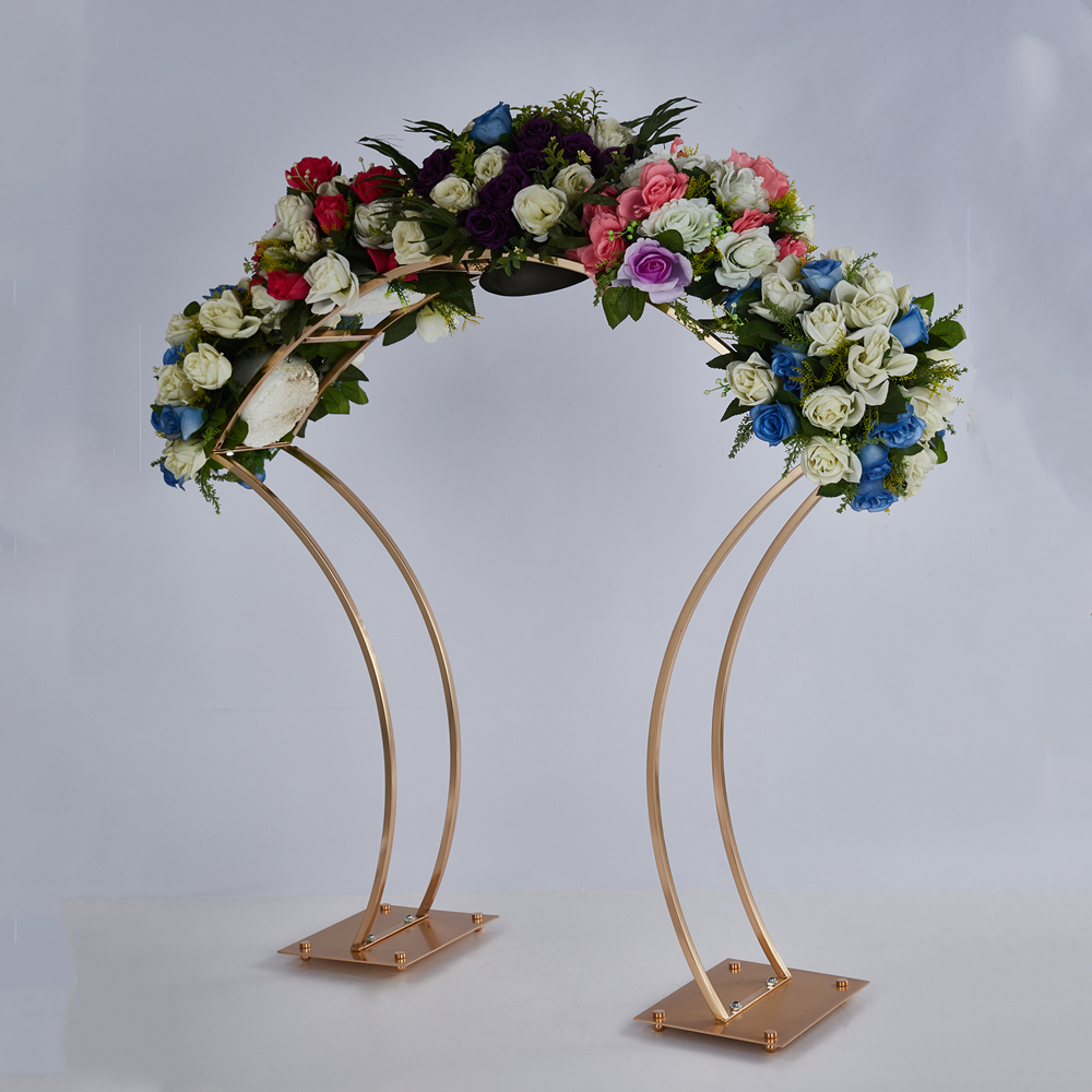 5PCS New Style Flower Rack Gold Arch Stand Road Lead Wedding Centerpie (5)