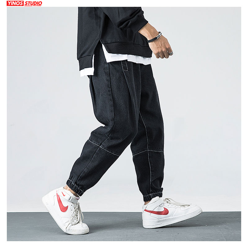 Dropshipping Men Solid Streetwear Pocket Denmin Pants Male Distressed Jeans Autumn Japanese Mens Pants