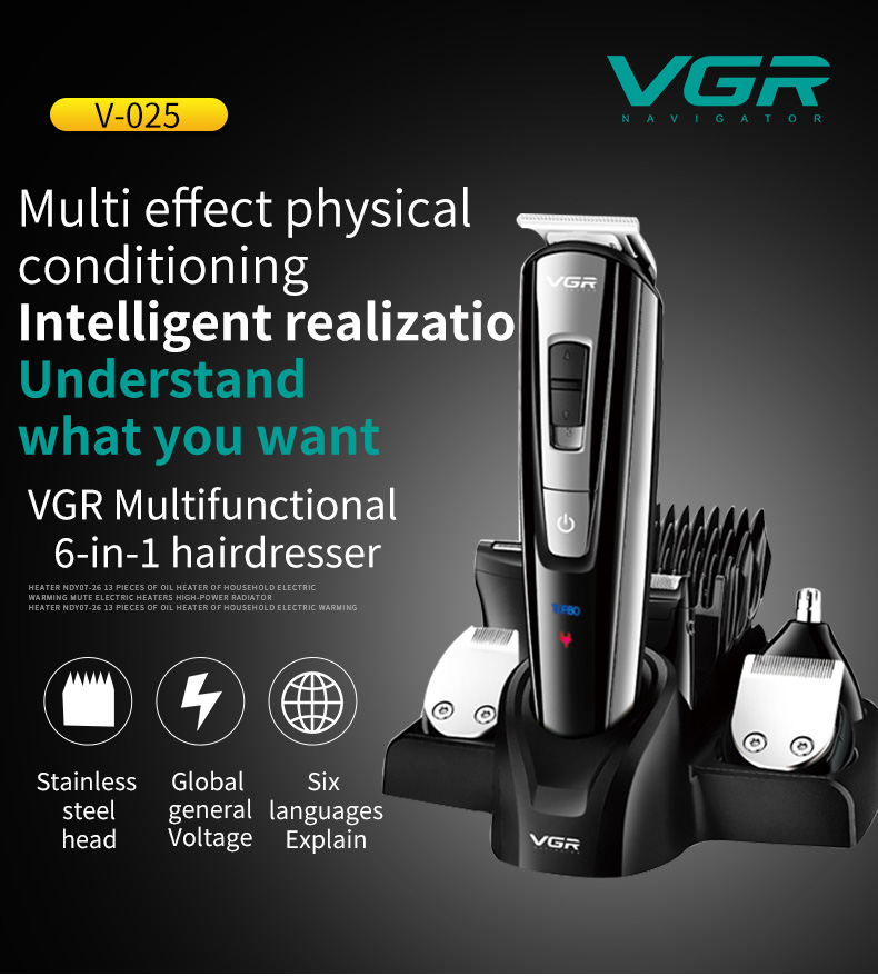 VGR 5-in-1 Hair Clipper Nose Hair Cleaner Shaver Cleanser Shaving  Electric Hair Trimmer Wireless Rechargeable Haircut