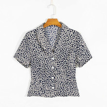 Summer Field Blouses Floral Print Short Shirt Woman V Neck High Waist Short Slee