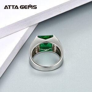 Image 4 - Smeraldo Anello in Argento Sterling 925 Gioielli in Argento 4.8 Carati in Piazza 10 millimetri Creato Smeraldo di Colore Verde Con La Parte Superiore Qualità per Gli Uomini