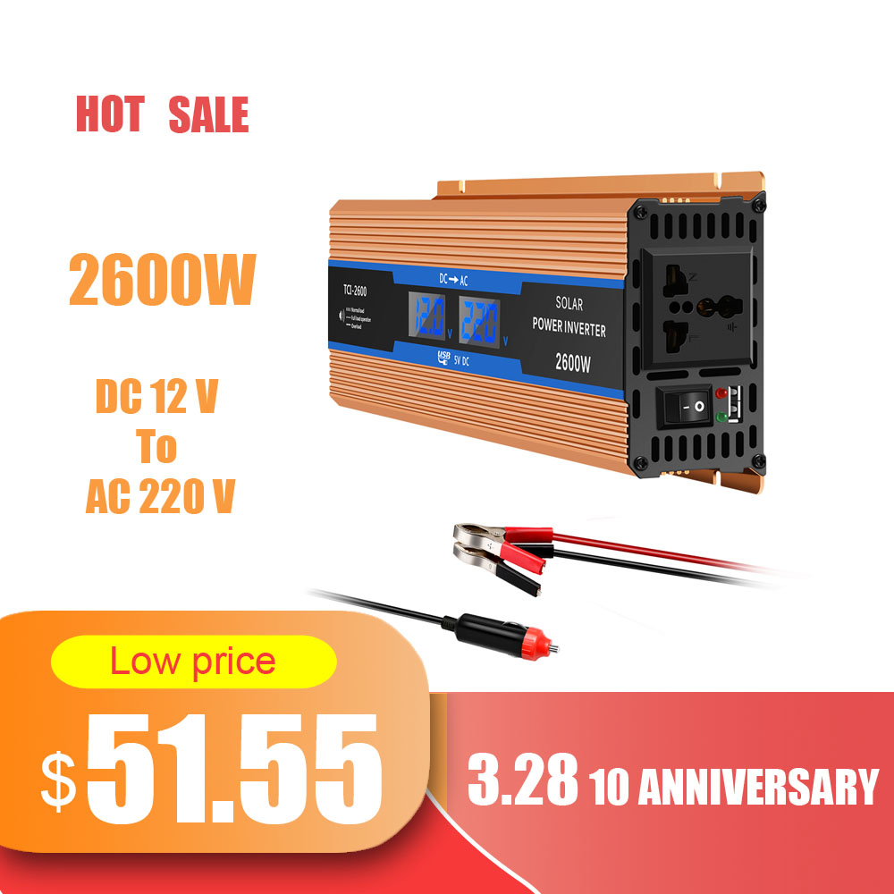 Image 5 - AOZBZ Car Inverter 2600W DC 12 V To AC 220 V Power Inverter  Charger Converter Durable  Sturdy Supply SwitchVehicle PowerCar  Inverters
