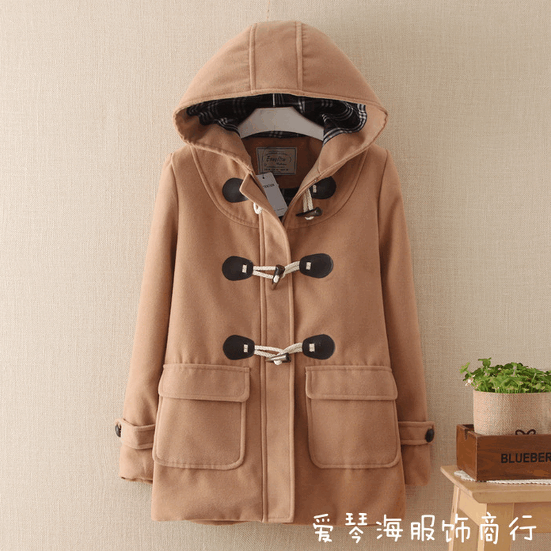 Coat Women Autumn Winter Jackets Solid Color Lapel Double-breasted Woolen Midi Trench Coat Loose Long Sleeve Jacket Warm Keeping
