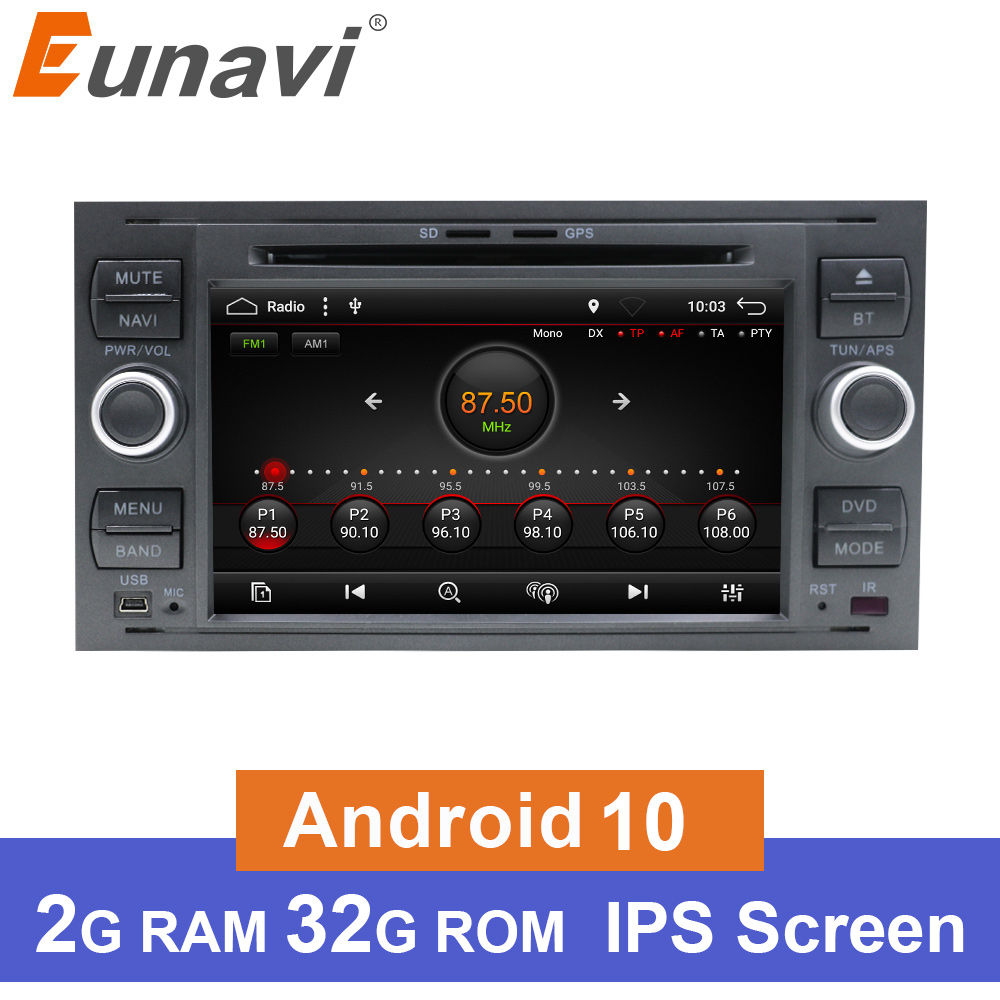 Eunavi Android 9.0 IPS 2 Din Car Radio DVD For <font><b>Ford</b></font> Mondeo S-Max Focus C-MAX Galaxy Fiesta <font><b>Transit</b></font> Fusion Multimedia Headunit BT image