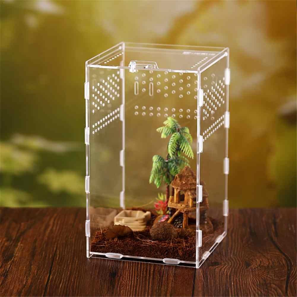 Transparan Acrylic Reptil PET Terarium Makan Tangki Kotak Serangga Ular Laba-laba Bunglon Peternakan Kotak Kandang Case Rumah