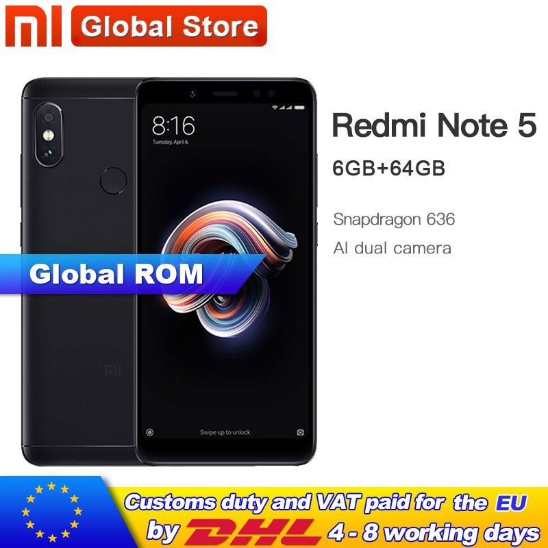 Global Rom Xiaomi Redmi Note 5 6GB 64GB Mobile Phone Snapdragon S636 Octa Core 4000mAh 5.99 2160*1080 Full Screen 12.0+5.0MP-in Cellphones from Cellphones & Telecommunications    1