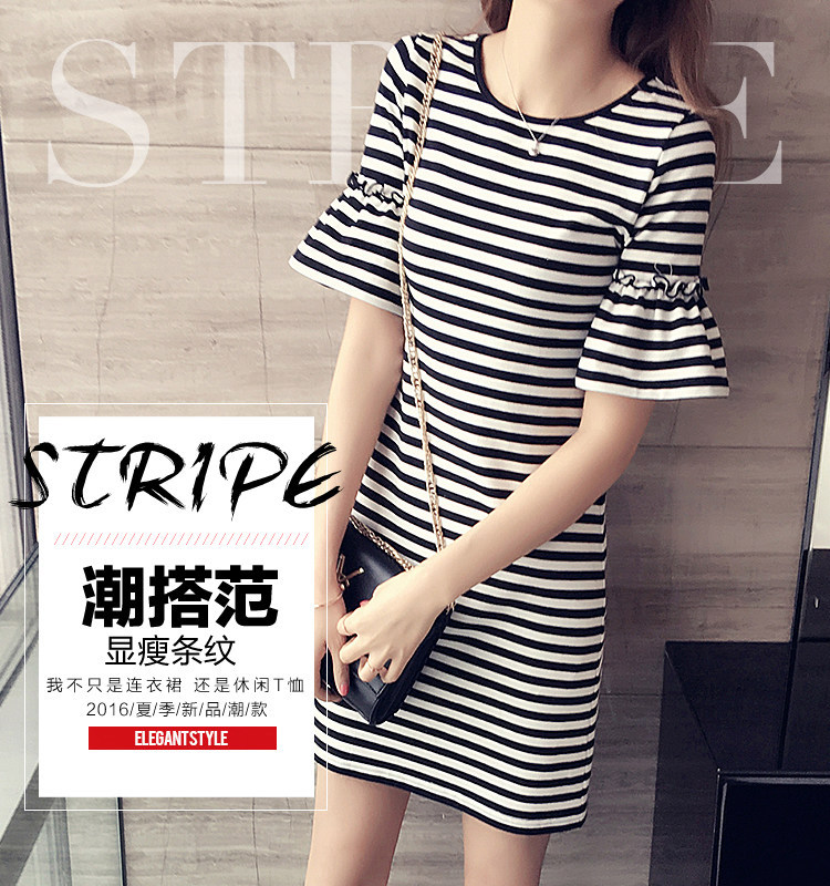 Spring Summer Casual Stripes Large Size WOMEN'S Dress Short Sleeve Loose-Fit Mid-length Nightgown Tracksuit