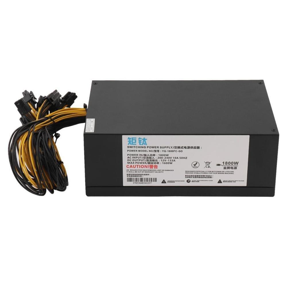 Haute efficacité 1800W serveur PSU alimentation 6PIN Machine minière alimentation pour Antminer S7 S9 A6 A7 L3 R4