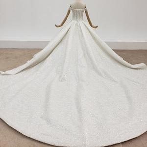 Image 2 - HTL1415 weding vestito fuori dalla spalla più il formato abito da sposa top con perline e perle abito da sposa tutto con seqrobe mariage fille