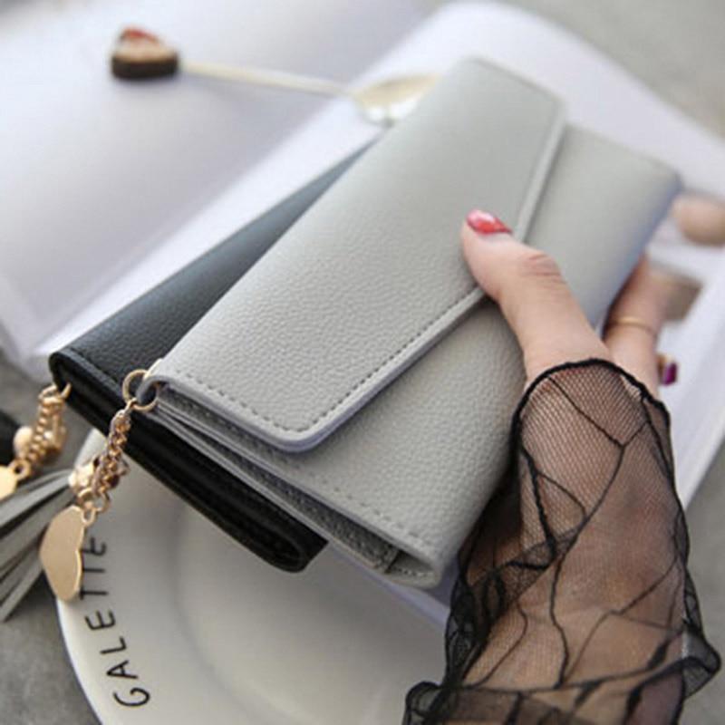 Brand Designer Coin Purses Leather Wallets Women Long Tassel Luxury Clutch Phone Wallets Female Credit Card Holder Money Bags