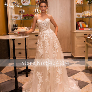 Image 5 - Adoly מיי מדהים אפליקציות משפט רכבת אונליין חתונה שמלת 2020 יוקרה ספגטי רצועות חרוזים נסיכת שמלת כלה בתוספת גודל