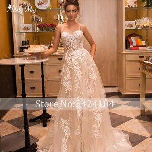 Image 5 - Adoly メイゴージャスなアップリケ裁判所の列車 A ラインのウェディングドレス 2020 ラグジュアリースパゲッティストラップビーズ王女花嫁衣装プラスサイズ