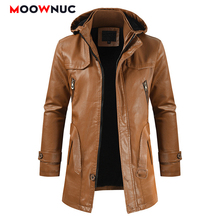 Fashion Coats Fake Leather Jacket For Men Windproof Thicken Newest 2020 Spring Autumn Leather Male Solid Business Casual MOOWNUC