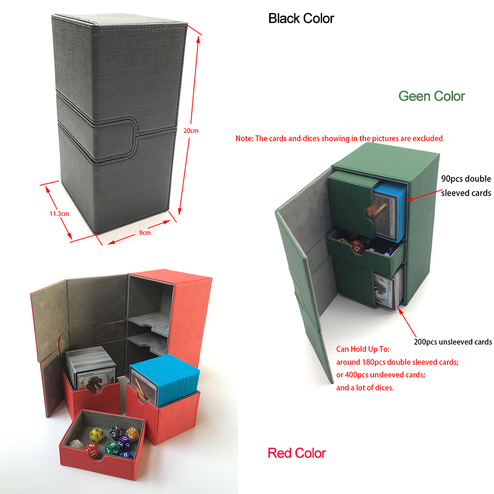 Extra Large Deck Box For Trading Cards Storage, Board Game Cards Case Card Box/container Cards Deck Box Deck Case: Black, Green