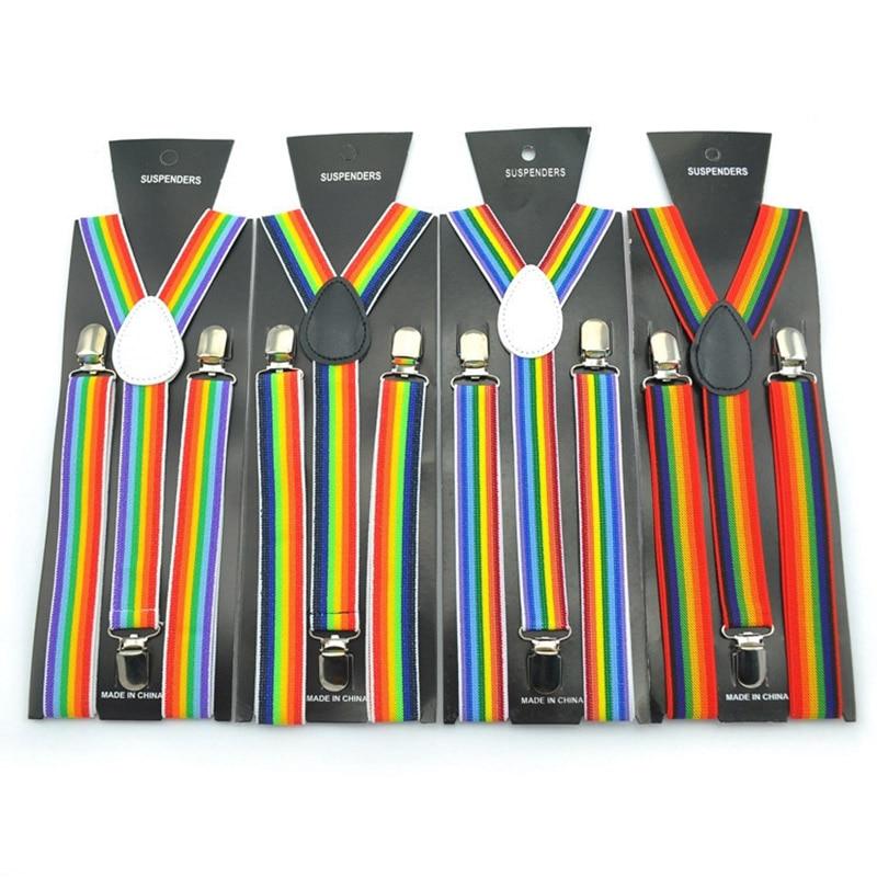 2019 Unisex Seven Color Rainbow Stripe Elastic Suspender Clip-on Suspenders Pattern Ladies Women Men Elastic Y-back Suspenders