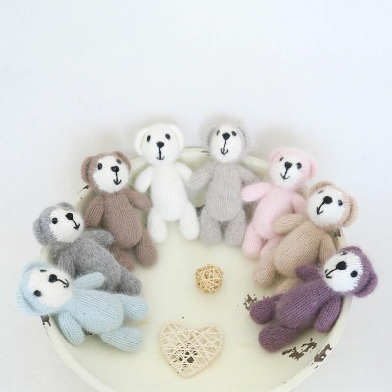 Новорожденный реквизит игрушка плюшевый мишка вязаная мишка игрушка для фото реквизит мохер для вязания крючком животное набитый Рождественский подарок