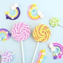 Artificial argila macia lollipop bolo topper criativo doce cupcake decoração um 1st decoração do bolo feliz aniversário crianças menino menina adu