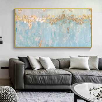 Wall Art Decor hand painted Oil Painting blue classical painting on Canvas Abstract Painting for Living Room Home Decor No F