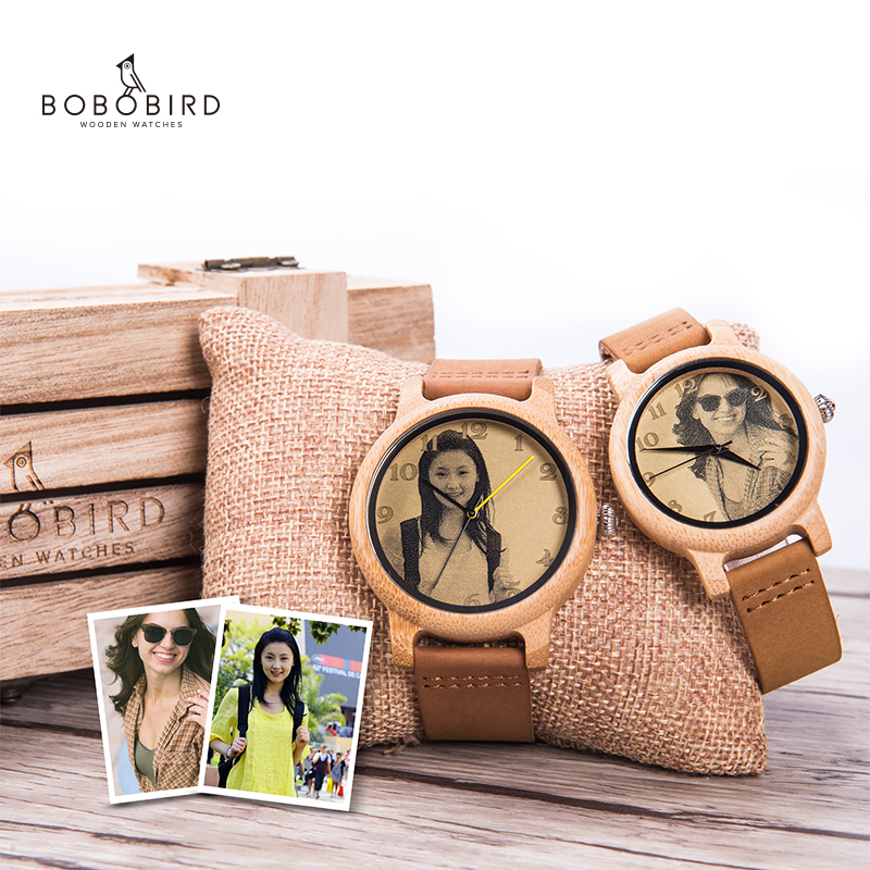 BOBO BIRD Couple Watch Ultra-High Precision Laser Photo Wood Watch Genuine Leather Strap Customize Unique Christmas Gift For Him