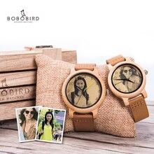 Bobo bird relógio para casal, relógio para casal com foto a laser de alta precisão pulseira de couro genuíno personalizar presente original para natal ele pode