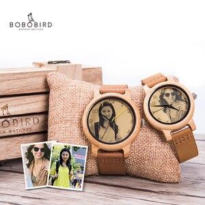 Image 1 - Bobo bird relógio para casal, relógio para casal com foto a laser de alta precisão pulseira de couro genuíno personalizar presente original para natal ele pode