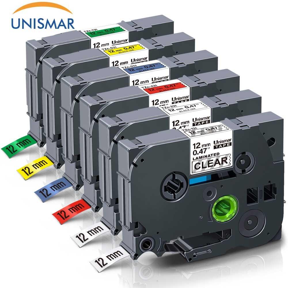 Unismar 6PCS TZe 131 TZe 231 TZe 431 TZe 531 TZe 631 TZe 731 Laminated Labeling Tape for Brother P Touch PT D210 PT H100 PT D600|Printer Ribbons| |  -