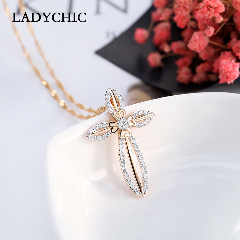 LADYCHIC Elegance Gold Color Flower Leaf Cross Pendant Necklaces for Women and Girl Trendy Crystal Necklace Gift Collares LN1063