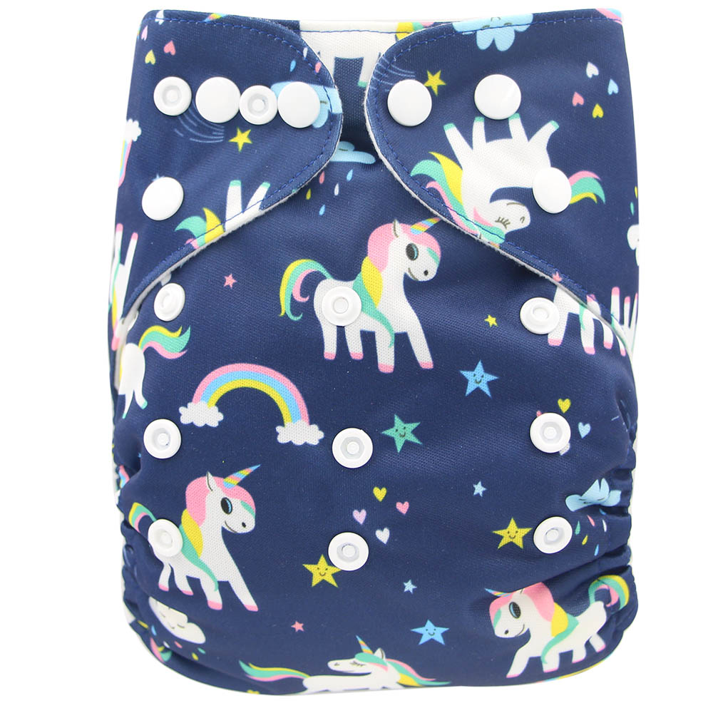 Ohbabyka New Baby Pocket Newborn Unicorn Flowers Print Baby Snaps Cloth Diapers Nappy One Size Fits All Cute Diapers Baby Pants