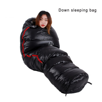 Very Warm White Goose down filled Adult Mummy style Sleeping bag Fit for Winter Thermal 4 kinds of thickness Camping Travel 2