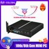 EGLOBAL Fanless מיני מחשב i7 8565U 8550U 4 Core 8 אשכולות 2 * DDR4 M.2 + Msata + 2.5 SATA שולחן העבודה מחשב Windows 10 DP HDMI HTPC
