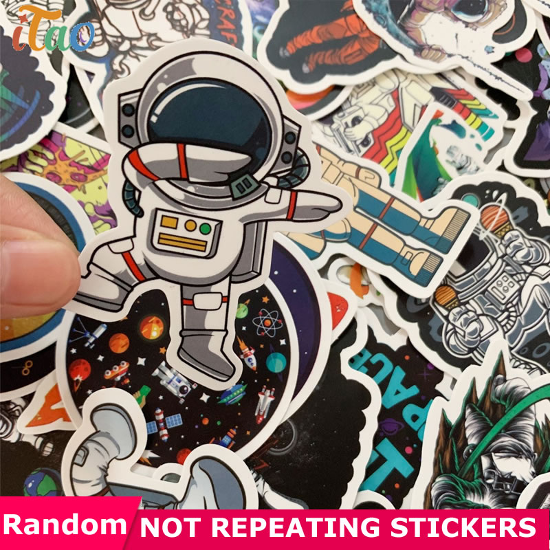 10/20/30/40/50Pcs Outer Space Astronaut Stickers Waterproof PVC Snowboard Skateboard Laptop Luggage Laptop Guitar Toys Sticker