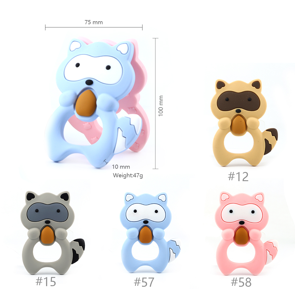 Keep&Grow 10pcs Baby Silicone Teethers BPA Free Teething Toy Animals Raccoon Teether Silicone Beads DIY Necklace Making