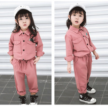 New autumn baby girl clothing long-sleeved shirt+long section loosen trousers suit set for girls