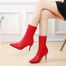 Сапоги средней длины на высоком каблуке; Женская теплая обувь;