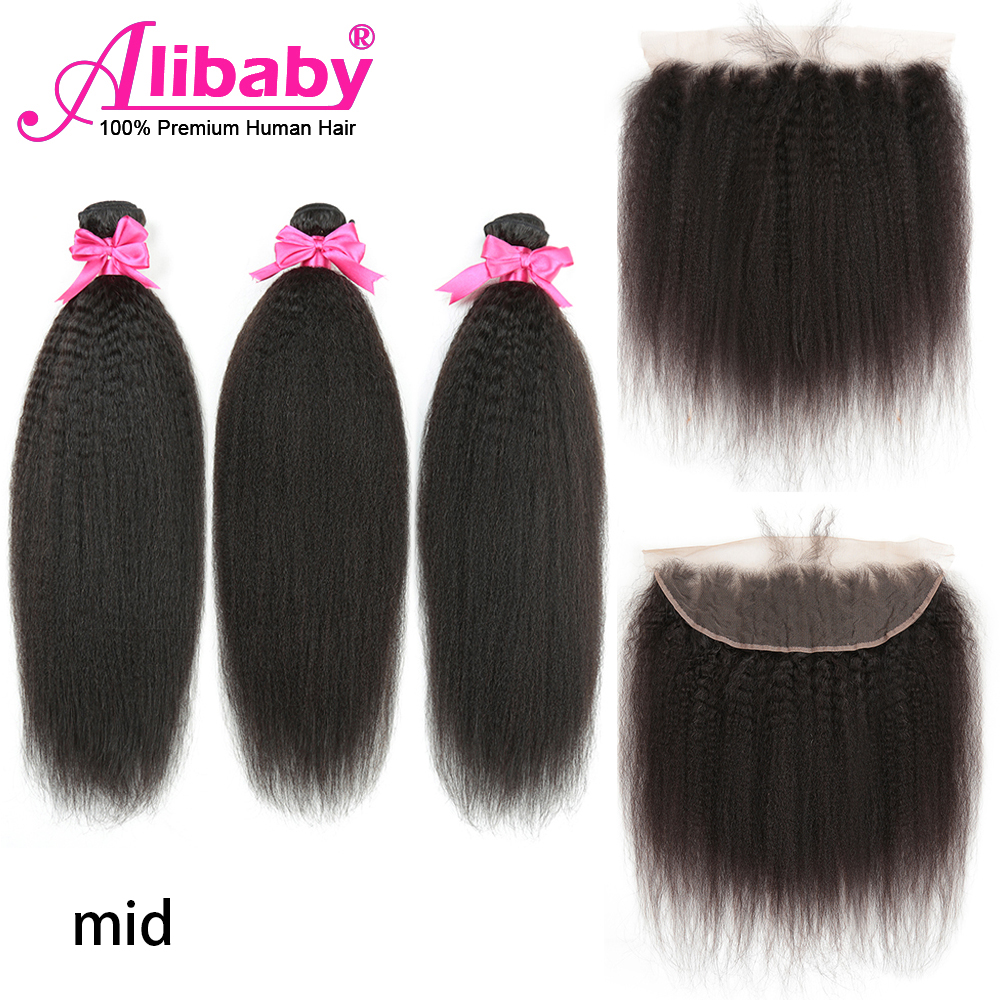 Alibaby Kinky Straight Hair With Lace Frontal Human Hair Bundles With Frontal Yaki Non-Remy 3 Bundles With Frontal NaturalColor