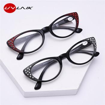 UVLAIK eleganckie kocie okulary do czytania kobiety diamentowe okulary korekcyjne luksusowe okulary nadwzroczność okulary damskie tanie i dobre opinie Jasne Lustro 0 05cm Z tworzywa sztucznego 1641 0 04cm 200002146 200002198