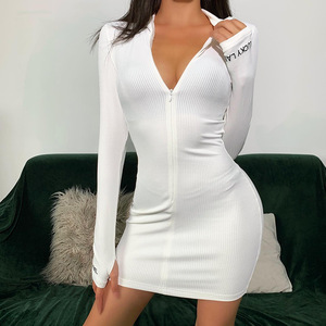 Sexy Zipper Christmas Club Party Dress Women Autumn Winter Embroidery Lucky Label Long Sleeve Knit Rib Bodycon Women Dress Robes