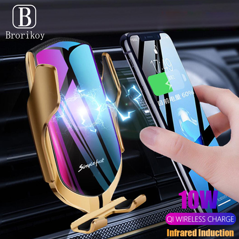 Infrared Induction Qi Wireless Car Charger 10W for Samsung S10 S9 Note 9 10 Plus S5 Wireless Charging for iPhone X XR Xs Holder image